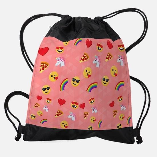 Emoji Pink Pattern Drawstring Bag