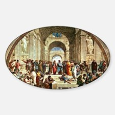 Raphael - School of Athens showing  Sticker (Oval)