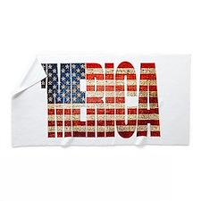 Vintage Grunge MERICA U.S. Flag Beach Towel