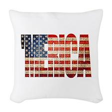 Vintage Grunge MERICA U.S. Flag Woven Throw Pillow