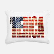 Vintage Grunge MERICA U.S. Flag Rectangular Canvas