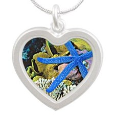 Ocean Life with Starfish Silver Heart Necklace