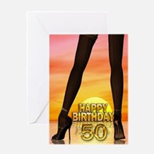 50th Birthday with sexy legs Greeting Cards