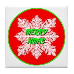 Merry Xmas Symetrical Snowfla Tile Coaster