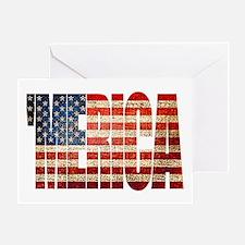 Vintage Grunge MERICA U.S. Flag Greeting Cards