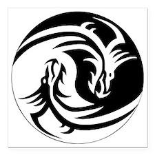 "Yin Yang Dragon Square Car Magnet 3"" x 3"""