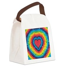 Colorful tie dye heart Canvas Lunch Bag
