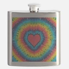 Colorful tie dye heart Flask
