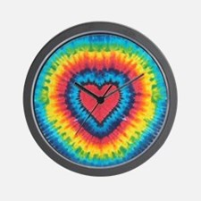 Colorful tie dye heart Wall Clock