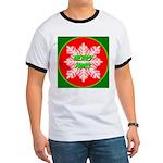 Merry Xmas Symetrical Snowfla Ringer T