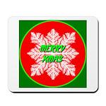 Merry Xmas Symetrical Snowfla Mousepad