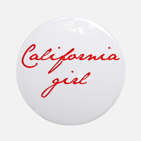 california-girl-jan-red Ornament (Round)
