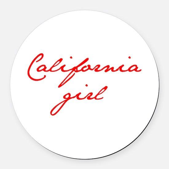 california-girl-jan-red Round Car Magnet