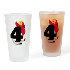 Fireman 4th Birthday Drinking Glass