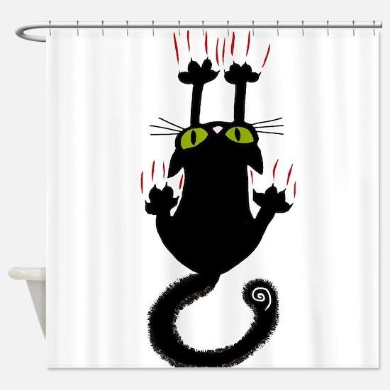 Black cat sliding down Shower Curtain