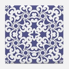 Blue Iris & White Lace Tile Tile Coaster
