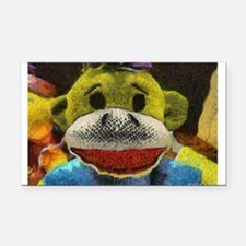 Yellow Sock Monkey Rectangle Car Magnet