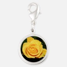 Rose yellow 001 Silver Round Charm
