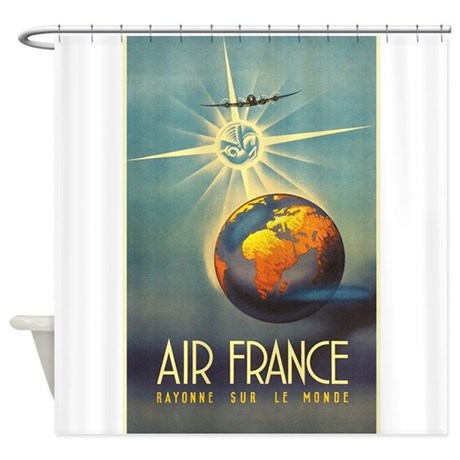 Air france globe sun travel vintage poster show by for Air france assistance chaise roulante