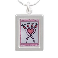 Paws For A Cure Pink Fr. Silver Portrait Necklace
