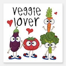 """Veggie Lover Square Car Magnet 3"""" x 3"""""""