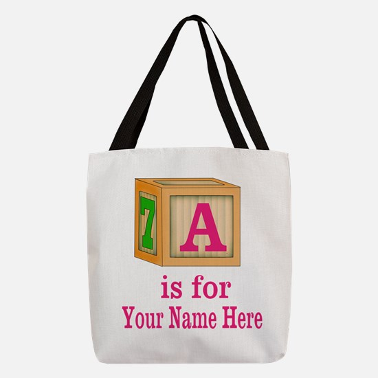 Custom Pink Block Polyester Tote Bag