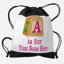 Custom Pink Block Drawstring Bag