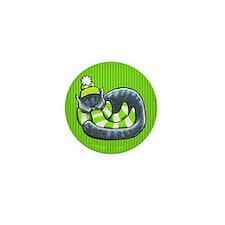 Gray Cat Scarf Mini Button