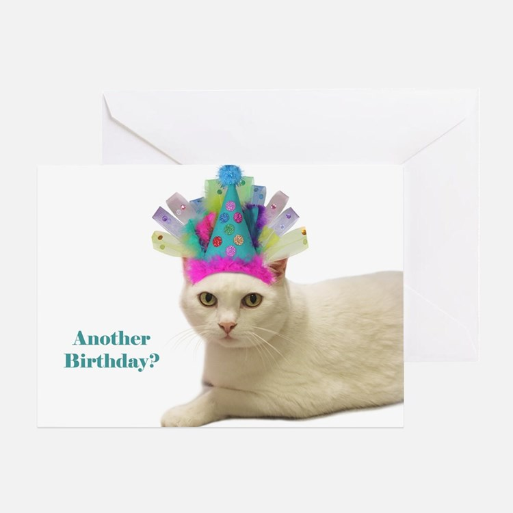 White Cat Wearing Party Hat Greeting Cards