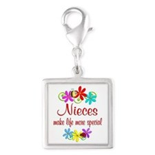 Special Niece Silver Square Charm