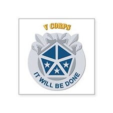 "DUI - V Corps With Text Square Sticker 3"" x 3"""
