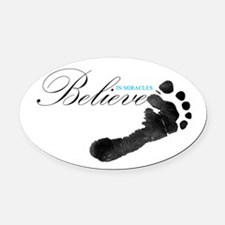 Believe in Miracles Oval Car Magnet