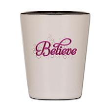 Believe Pink Bubbles Shot Glass