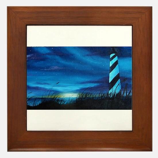 Lighthouse at Sunrise Framed Tile