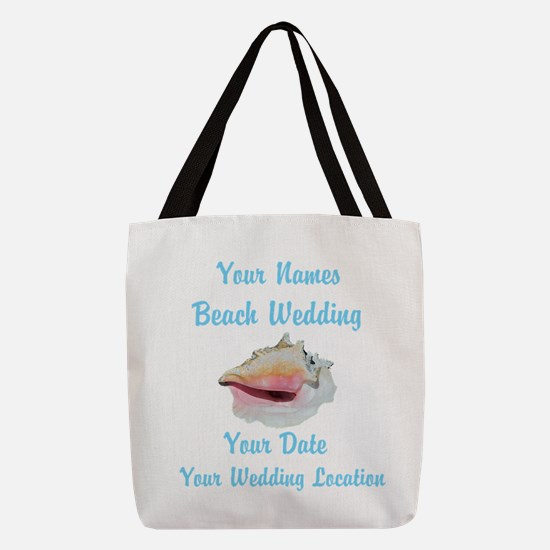 Custom Beach Wedding Polyester Tote Bag