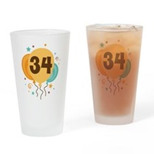 34th Birthday Party Drinking Glass