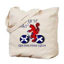 Scottish lion cycling fun Tote Bag