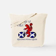 Scottish lion cycling fun Tote Bag