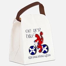 Scottish lion cycling fun Canvas Lunch Bag