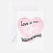 Love is my Weimaraner Greeting Cards (Pk of 10