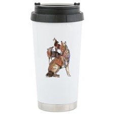Watercolor Howling Coyotes Animal Art Travel Mug