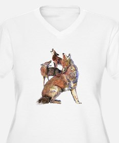 Watercolor Howling Coyotes Animal Art Plus Size T-
