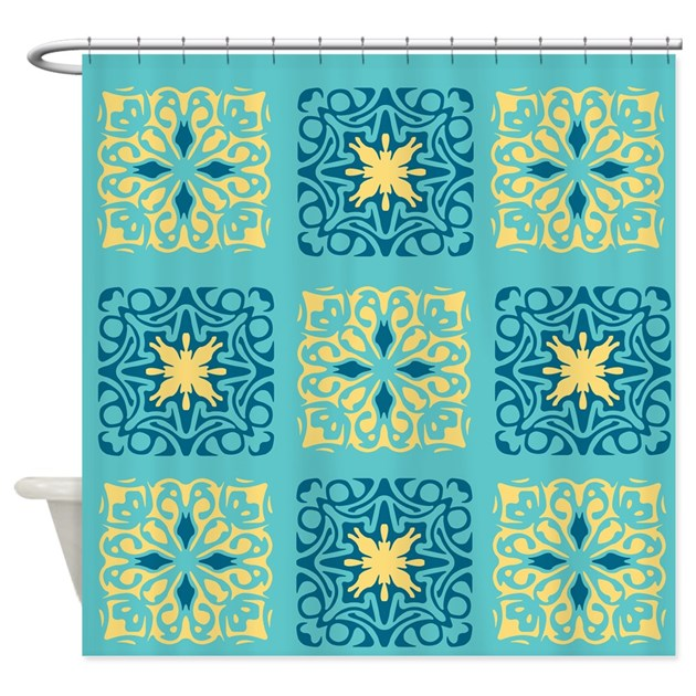 Blue And Yellow Tiles Shower Curtain By Jqdesigns