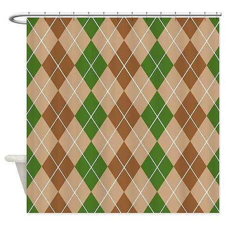 Brown Green Argyle Shower Curtain By Jqdesigns