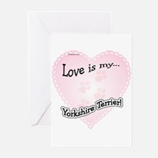 Love is my Yorkshire Terrier Greeting Cards (Packa