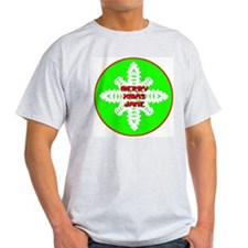 Merry Xmas Snowflake Ash Grey T-Shirt