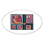 Valentine Bear Heart Oval Sticker