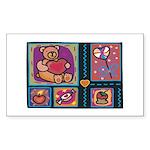 Valentine Bear Heart Rectangle Sticker