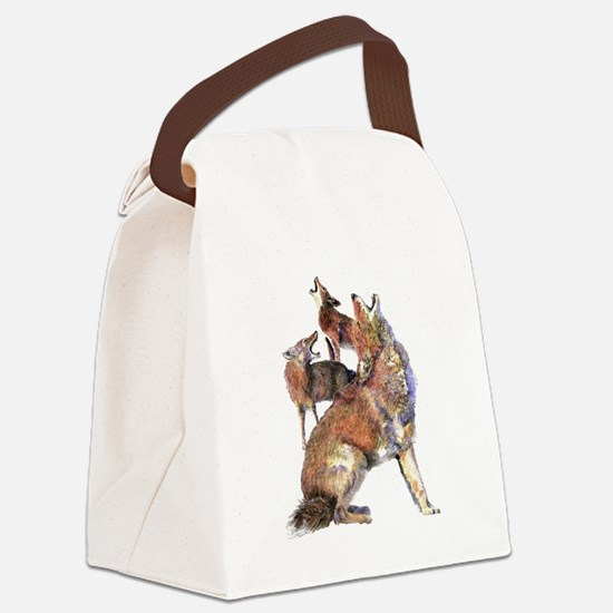 Watercolor Howling Coyotes Animal Art Canvas Lunch