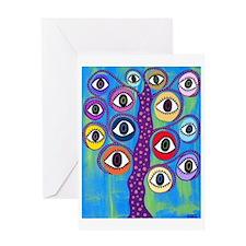 Purple evil eye tree Greeting Card